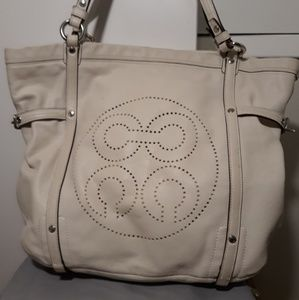 Perforated White Handbag - Coach